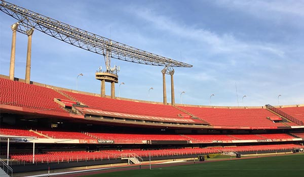 Visita ao estádio do Morumbi: sala de troféus, gramado, vestiários, etc.